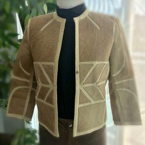 BCBG Maxazria Collection Fur and linen jacket so 2